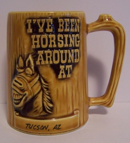Vintage Horse Mug Stein Raised Design Souvenir Horsing Around AZ Japan SMIWES