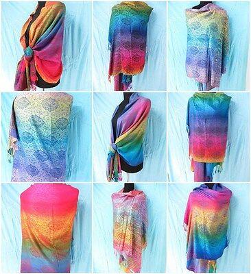 *US SELLER*lot of 10 rainbow paisley pashmina scarf viscose Wholesale Scarves