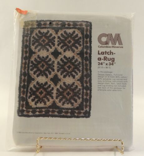 "VTG Columbia Minerva Latch Hook Pattern Persian 24"" x 34"" 3803 1980 NOS Rug New"