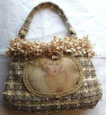 1920's / Gatsby Inspired Fashion Image On Fabric & Fringed Bagette, New, U.S.A.