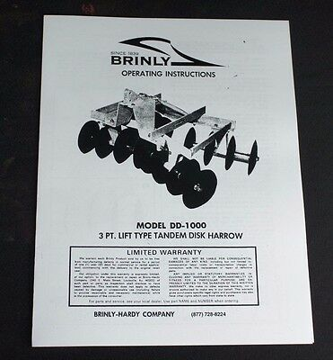 Brinly Dd-1000 3-point Double Gang Disk Harrow Disc Manual Super Lawn Tractor