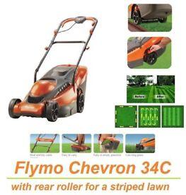 NEW - Flymo Chevron 34C Wheeled Rotary Electric Mower, 1400W