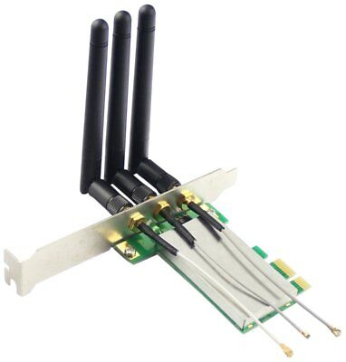 Adapter Mini-PCIe WLAN-Karte aus Notebook in PCI-E x1-Slot Steckkarte 3 Antennen