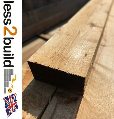 NEW TREATED TIMBER GARDEN RAILWAY SLEEPERS 200X100 2.4M BROWN RAISED BEDS PACK10