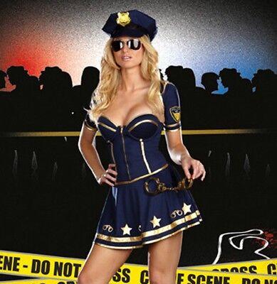 LADIES HALLOWEEN FANCY DRESS COP FBI POLICE COSTUME HAT SIZE 8 10 MEDIUM SIZE (Fbi Halloween Costumes Women)