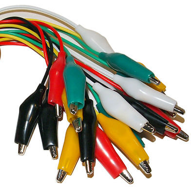 10pcs 5colors Test Lead Jumper With Alligator Clips Cable 16awg Wire For Arduino