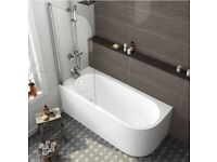 1700mm Corner Shower Bath & Screen (Includes Panels) - Left Hand.