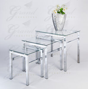 Elsa range clear glass nest of tables coffee side coffee - Glass side tables for living room uk ...