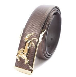 Mens-Gold-Silver-Horse-Buckle-Belt-Genuine-Leather-Waistband