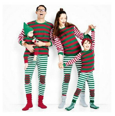 Family Christmas Themed Striped Outfit Sleepwear Kids and Adult Sizes PK122](Christmas Family Outfit)