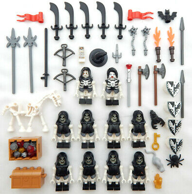 10 LEGO SKELETON CASTLE KNIGHT MINIFIG LOT figure minifigure grim reaper ghost](Skeleton Knight)