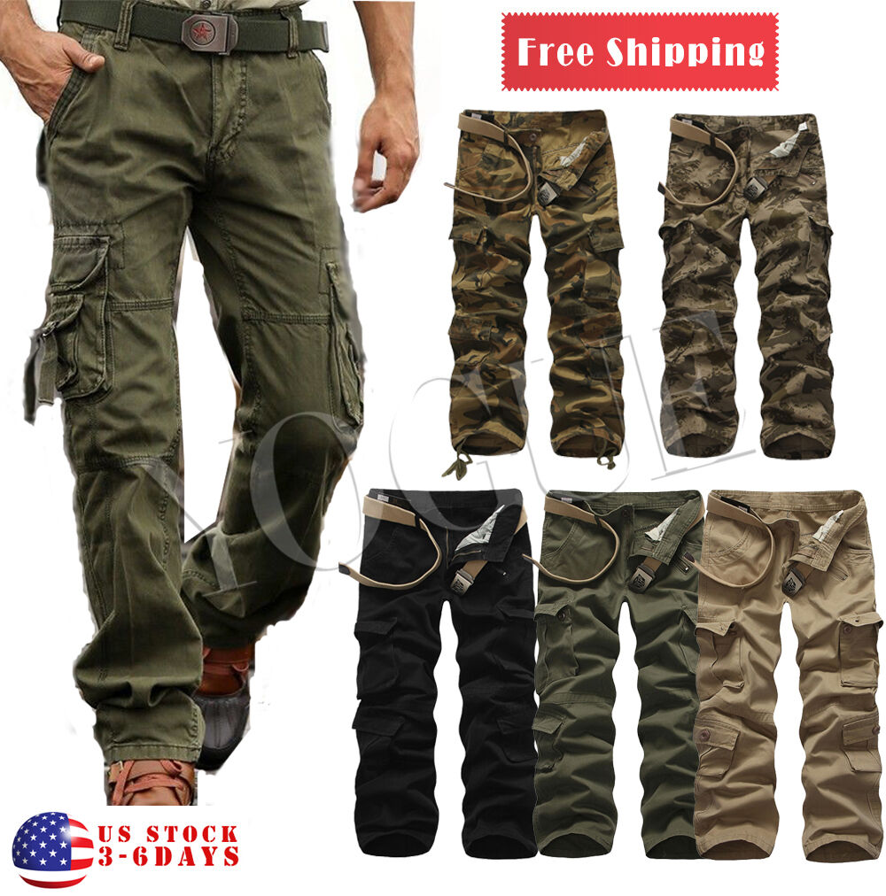 Military Men's Cotton Cargo Pants Combat Camouflage Camo Arm
