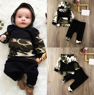 Cool Camo Baby Boys Outfits Long Sleeve Hooded Outfit Set For Newborn Kids 0-3T (Cool Baby Outfit)