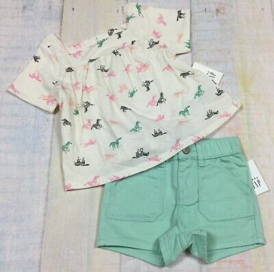 Baby Gap Girls 18-24 Months Outfit. Zebra Shirt & Teal Denim Shorts Outfit. - Zebra Outfit