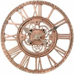 Industrial Style Steampunk Bronze Toned 12 Hanging Wall Clock Gear Design
