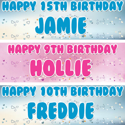 2 personalised birthday banner heart adults children kid party poster decoration