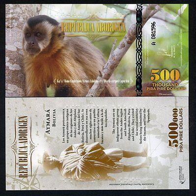 Usado, Republica Aborigen 500000 (500,000) Pira Pire Dollars, Polymer 2014 UNC Monkey segunda mano  Embacar hacia Spain