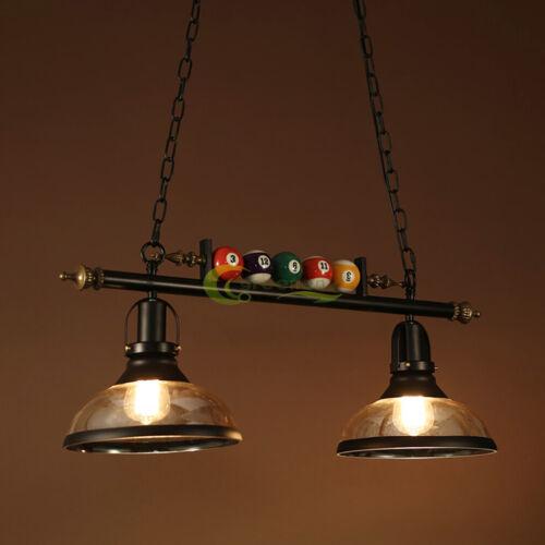 "E27 Hanging Pool Table Lights Fixture Billiard Pendant Lamp W/2 Glass Shades 31"""