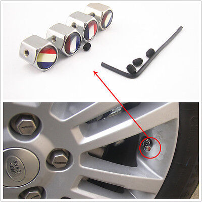 4 Pcs France Flag Style Car Wheel Tire Valve Stem Anti-Theft Locking Caps Cover