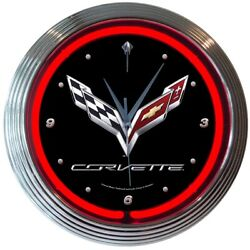 C7 Corvette Black & Chrome Wall Clock with Crossed Flags Logo & Red Neon Light