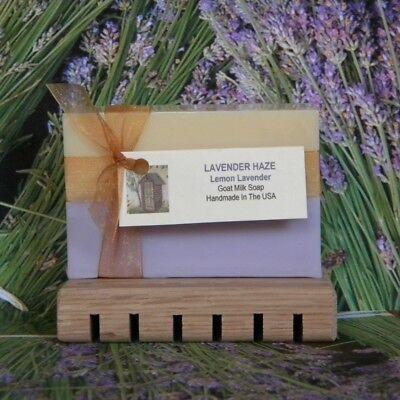 LAVENDER HAZE Lemon Lavender Handmade Scented Goat Milk Soap Bars - Homemade Lemon Bars