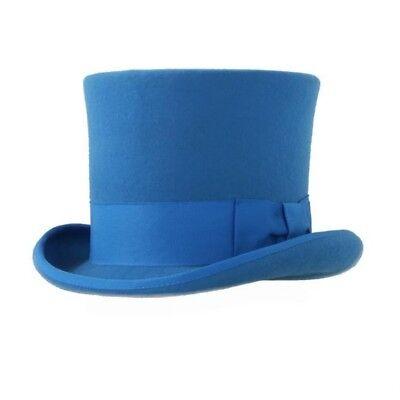 New Premium 100% Wool Blue Top Hat Halloween Classic Victorian Dickens Costume