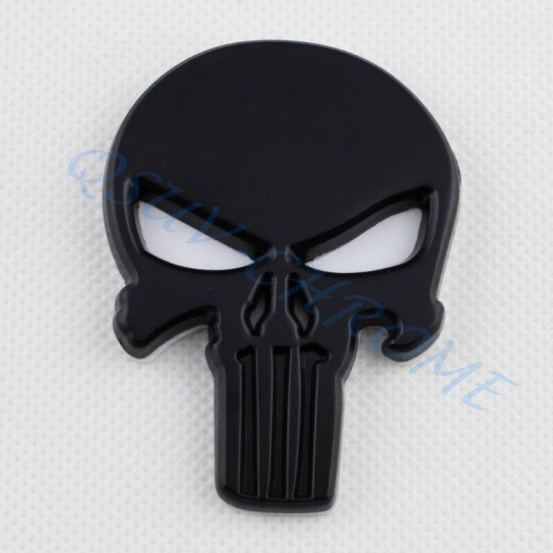 Car Motors Accessory Black Skull Punisher Style Emblem Badge Sticker Decal Trim