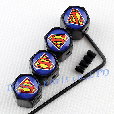 Anti Theft Black Metal Car Wheel Tyre Tire Stem Air Valve Cap For Superman Style