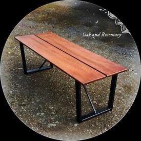 Handmade in Glasgow – Reclaimed Mahogany BeamBench Seat / Coffee Tableon Iron Frame [o]