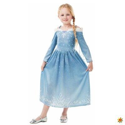 Elsa Frozen Kostüm Classic Mädchen Kleid blau Kinderfasching Film Lizenzkostüm ()