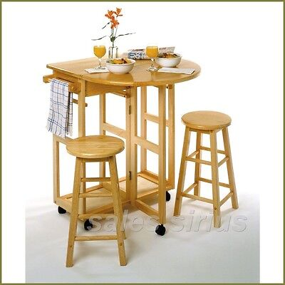 Used, Breakfast Table Set 3 Piece Wooden Kitchen Cart Nook Dining Bar Stools Drop Leaf for sale  Boston