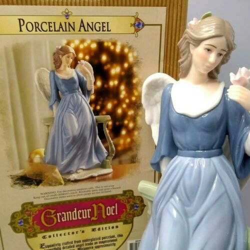 "2001 Grandeur Noel Collectors Edition Porcelain Angel w Rose Blue Dress 12"" Tall"