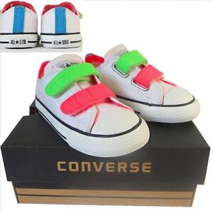 KIDS Toddlers Boy Girl CONVERSE All Star WHITE NEON VELCRO 3V Trainers UK SIZE 7