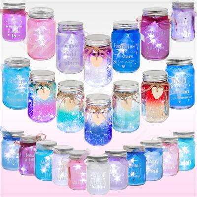 Firefly Light Up LED Glass Jars Bottles Gift For Family Friends Home - Light Up Jars