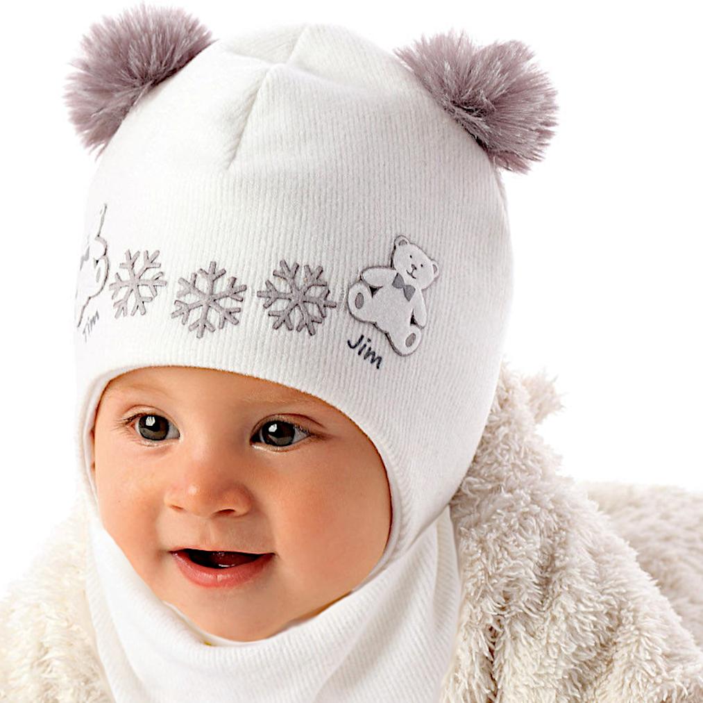 Marika Baby Mädchen Winterset Wintermütze Bommelmütze Kindermütze Halstuch Weiß