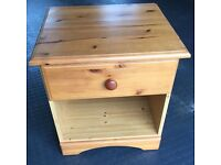 Small Pine Bedside Cabinet with one drawer & open compartment