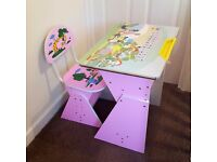 Kids Girls Children's Desk And Chair, Adjustable In Very Good Condition, Pink With Alphabet