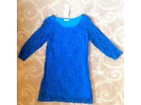 Sexy ¾ sleeved bright blue lace shift mini dress by CMD