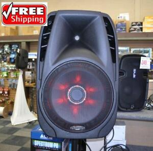 "4315TH 15"" POWERED 1000 WATT PORTABLE RECHARGEABLE PA DJ PARTY SPEAKER W/ 2 BUILT-IN DUAL VHF WIRELESS MICROPHONES"