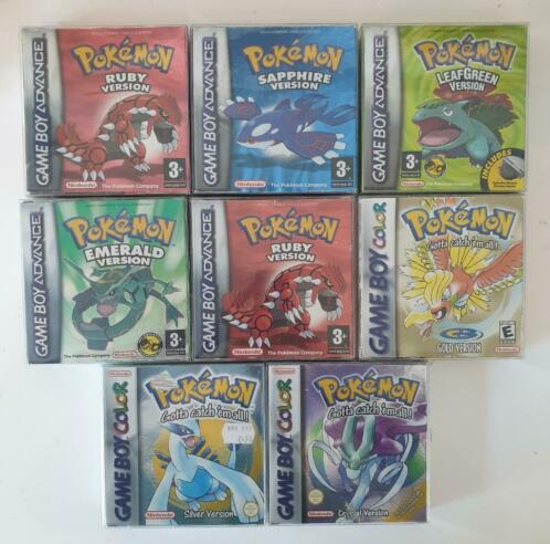 new neuf nintendo gameboy gba POKEMON CRYSTAL RUBY LEAF