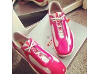 Authentic Hot Pink Classic Prada Trainers - Size 6.5!