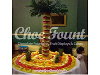 FRUIT DISPLAY DRINKS RECEPTION CHOCOLATE FOUNTAIN CANDY FLOSS DHOL PLAYER PHOTO BOOTH MAGIC MIRROR