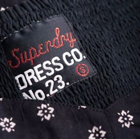 Womens dress Superdry 50's Meadow Print Dress Navy Ikat Dot