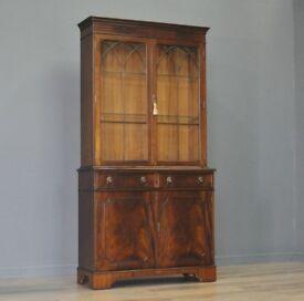 Attractive Large Vintage Mahogany J. Sydney Smith Bookcase Display Cabinet