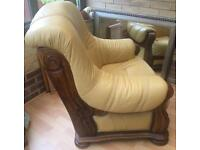 2 x Mustard Leather Arm Chairs