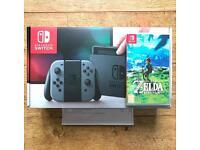 Nintendo Switch Console (Grey) 32GB Including Zelda BOTW Like New