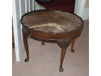Beautiful old round table - with little round feet