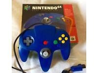 Clean and Tested Nintendo 64 Controller with Box, Blue