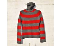 Atmosphere UK 8-10 Ladies Red & Grey Stripy Knitted Style Jumper C34""