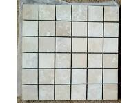 Mosaic travertine tiles on a mesh 300 x 300